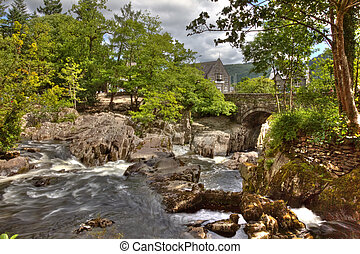 Betws y Coed - Hdr image of Betws y Coed bridge and...