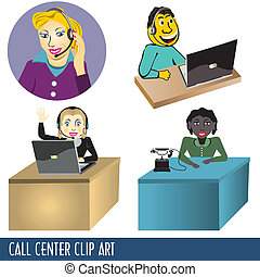 Call Center Clip Art - Collection of four call center clip...