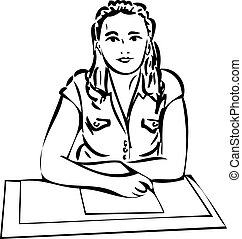 sketch of a girl recording on paper