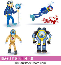 Diver Clip Art Collection