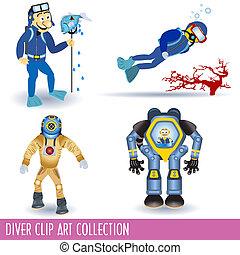 Diver Clip Art Collection