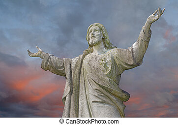Jesus with outstretched arms - Pre 1900 worn stone statue of...