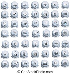Grey interface icons set - Vollection of 49 grey interface...