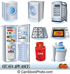 Kitchen Appliances - Set of nine kitchen appliances and two...