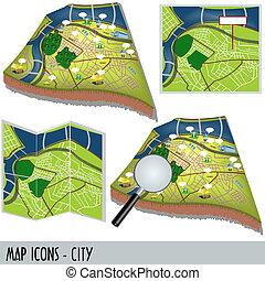 Map Icons - City - Illustration of city map icons isolated...