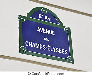 Avenue des Champs-Elysees sign - Avenue des Champs-Elysees...