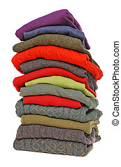 Stack of chunky Irish wool cable knit, Cashmere and Aran...