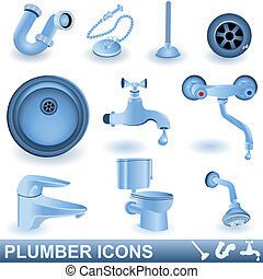 Plumber Icons - A collection of different blue plumber...
