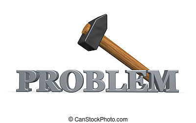 resolve problem - the word problem and a hammer - 3d...