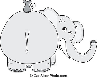 Elephant and mouse - Scared elephant with little mouse on...