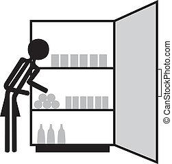 woman fridge