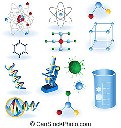 Science icons - A collection of 12 different science color...