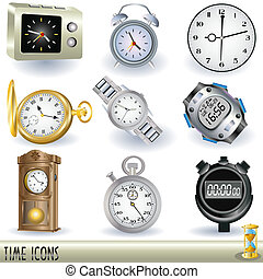 Time icons - A collection of watches and stopwatches, color...