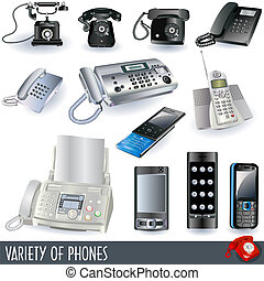 telephone icons - A collection of variety telephone icons -...