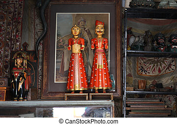 Still Life Wood Figurines - a still life with indian...