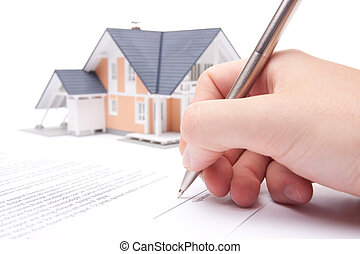 Mortgage contract - Man confirm mortgage contract estate...