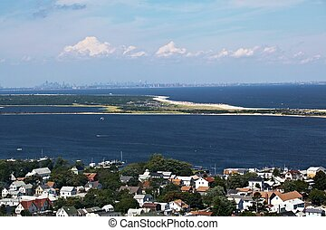 Sandy Hook New Jersey view with New Yorkin background