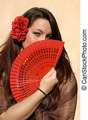 espagnol, femme, ventilateur, espagne