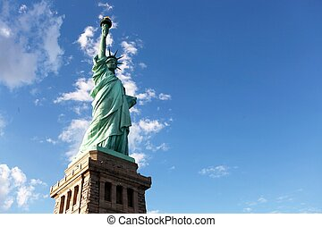Statue of liberty facing harbor - Statue of liberty facing...