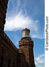Twin lights lighthouse new jersey with blue skies