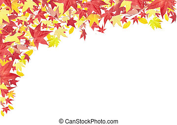 Falling autumn leaves frame isolated on white