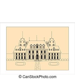 cute card. Castle. sketch vector