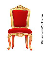 Old-style chair red velvet isolated on white background