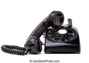 Old Vintage Telephone Receiver and Handset - An old black...