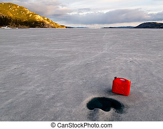 Red Jerrycan Lost on Frozen Lake Laberge, Yukon - Red...