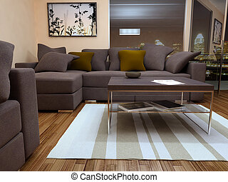modern bright living room with sofa