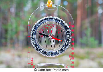 Compass on nature background