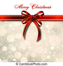 Red bow on a magical Christmas card Vector - Big red bow on...