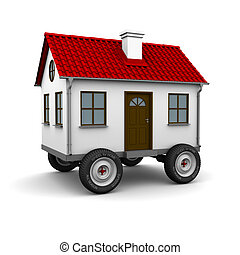 Stylized motorhome on a white background