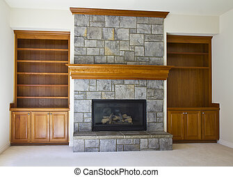 Open Fireplace and Book Shelf - Stone Fireplace with book...
