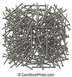 Um, lote, metal, pregos, a, efeito, profundidade, campo