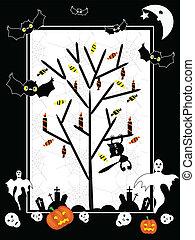 Vector Halloween tree