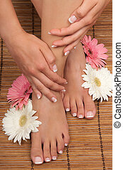 Spa - Pedicure and manicure spa with beautiful flowers