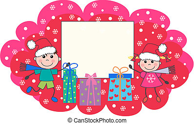 merry christmas - two children holding a placard