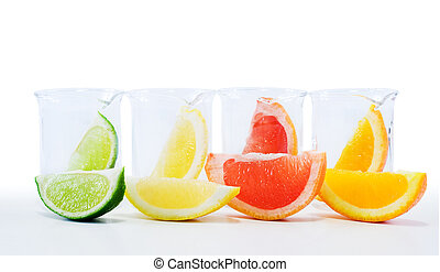 Nature sciences concept with citrus slices in chemical lab...