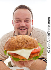 hombre, feliz, tamaño, el suyo, hamburguesa