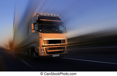 road truck - a large road truck with cargo traveling down a...