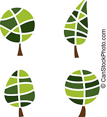Four stylized green tree in the vector
