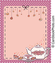 Vintage tea set and sweet cakes. Vector