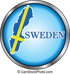 Sweden Round Button - Vector Illustration for the Sweden,...
