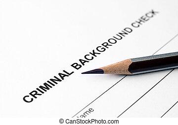 criminal, Plano de fondo, cheque