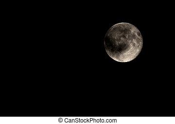 coberto, parte, cheio, nuvem, lua