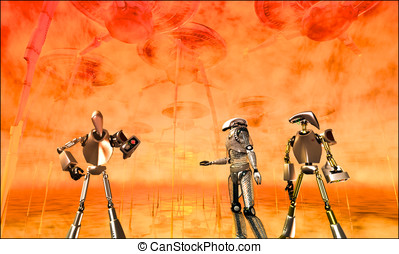 War of the Worlds Robots - In the background giant Martian...