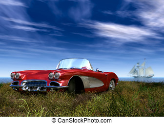 Red Sports Car and Sail Boat - 1958 Red corvette tyle sports...