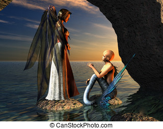 Angel and Mermaid in Conversation