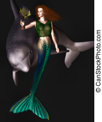 Mermaid and Dolphins - Beautiful mermaid plays gently with a...